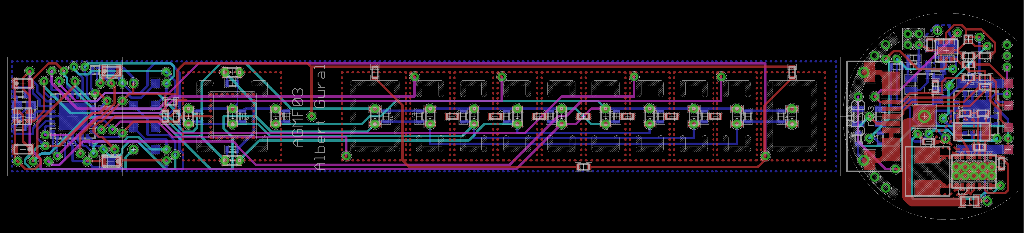 Board layout.  Because of the small size requirements, I had to take some... er... creative liberties (like soldering LEDs on top of vias).