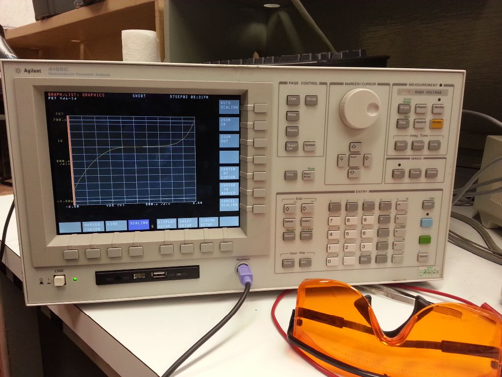 Running the analyzer shows a characteristic MOSFET $I_D$ vs $V_{DS}$ curve.