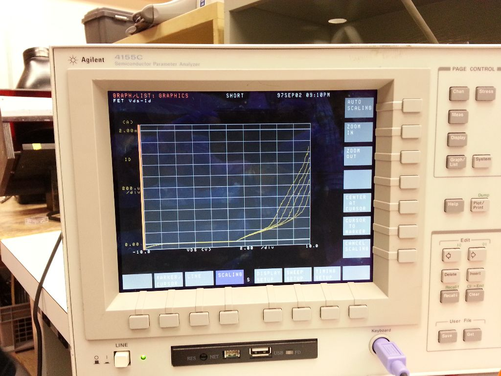 Running the analyzer shoes curves characteristic of a diode-connected transistor where the collector and base are connected together.